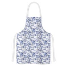 "Alisa Drukman ""Blue Seashells"" Coastal Abstract Artistic Apron"
