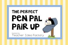 This awesome teacher is offering to pair up pen-pals- free! Kids LOVE getting mail and what a great way to encourage your reluctant writers! I've signed up- you should too! Teaching Activities, Teaching Writing, Teaching Resources, Teaching Ideas, Primary Resources, Second Grade Teacher, First Grade, Third Grade, Teacher Signs