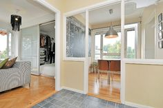 Sliding doors from IKEA create a 'bedroom' in a studio apt.