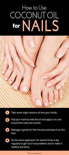 How to Use Coconut Oil For Nails Method – 1: (Coconut Oil)    This process is used to strengthen the cuticles (to cure rough and torn cuticles) and prevents hangnails and ridges. Nail Design, Nail Art, Nail Salon, Irvine, Newport Beach