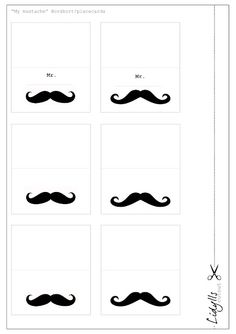 tablesetting-cards with mustaches and bowlerhats, free printable
