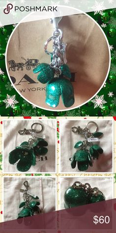 """Coach shiny green flowers Keychain Beautiful collectible flowers leaves Keychain color Green material Acrylic length around 6"""" come with dust bag and gift box Coach Accessories Key & Card Holders"""