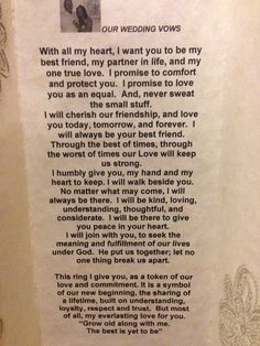 My wedding vows created on canvas