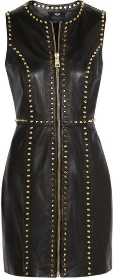Versus  Studded Leather Mini Dress - Lyst