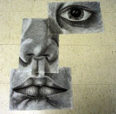 Fractured self portraits: 1 eye, nose, mouth, each on 12 x 18, in charcoal