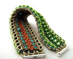 #beadwork  Twin cuff both 2 - embellished right angle weave (RAW)