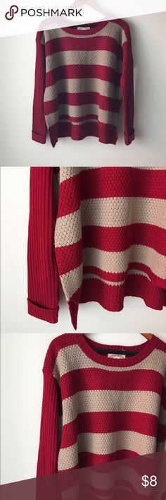 """Ambiance red and tan striped sweater Red and tan striped knit - long rubbed sleeves with fold up cuff - acrylic - boxy style - slight high low hemline - chest across measures 20"""" - total length measures 24"""" - size M Ambiance Apparel Sweaters"""