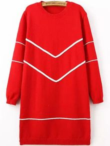 Long Sleeve Striped Red Sweater Dress