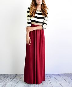 Look what I found on #zulily! éloges Burgundy Stripe Crochet Maxi Dress - Women by éloges #zulilyfinds