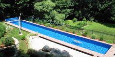 Important Inground Swimming Pools Facts : Rectangular Inground Swimming Pools  Metallic Railing Rocky Garden