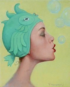 Sea Creature - Fred Calleri cute kitsch yumi kawaii fashion vintage photography wall art cool in vintage bathroom decor.... little mermaid, big fish