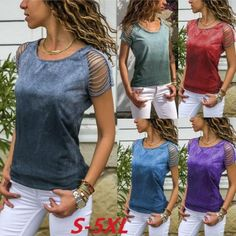 US$ 22.61 - 2019 Spring Round Neck Hollow Out Plain T-shirts - www.ebuytide.com Short Sleeve Tunic Tops, Plus Size T Shirts, Plus Size Casual, Cut Shirts, Casual T Shirts, Casual Tops, Types Of Sleeves, Shirt Blouses, Tee Shirt