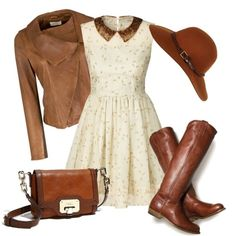 The brown leather boots with this beautiful dress.....Don't need the hat but the rest of the outfit is great!!!