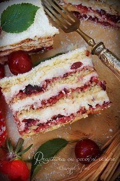 O prajitura aromata perfecta si racoritoare! Easy Cake Recipes, Sweets Recipes, Cookie Recipes, Romanian Desserts, Romanian Food, Cherry Deserts, Cookie Packaging, Dessert Bread, Homemade Cakes