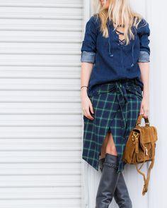 Denim lace tunic and plaid skirt on The Boyish Girl