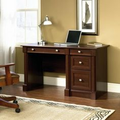 Add some traditional style and a touch of modern flair to your home office with this Palladia computer desk. Home Office. Computer Desks For Home, Wood Computer Desk, Wood Writing Desk, Home Desk, Home Office Desks, Home Office Furniture, Computer Workstation, X 23, Cherry Wood Desk