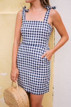 $50 Another Cute Causal Beautiful Blue And White Gingham Checked Summer Strappy Mini Dress Perfect For Summer Holidays Or Weekend Getaways Tumblr