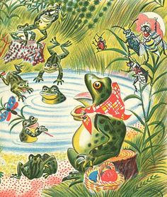 Frog Went A Courtin, by Russian illustrator Fedor Rojankovsky (Caldecott Medal 1955) - beautiful images from the whole book, if you click the link!