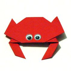 meerestiere basteln kostenlose bastelvorlage crab origami paper folding animal origami. Black Bedroom Furniture Sets. Home Design Ideas