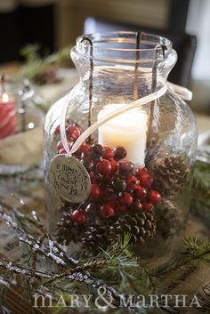Create this look by filling our Medium Glass Lantern with Cranberries and Pine Cones and adding one of our ornaments as a hang tag! Christmas To Do List, Christmas Love, Christmas Holidays, Christmas Crafts, Christmas Ideas, Country Christmas, Happy Holidays, Christmas Lanterns, Christmas Decorations
