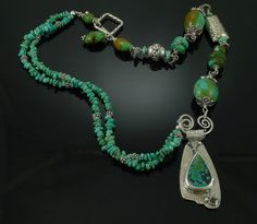 Funky Chunky Turquoise Necklace with Fine by LMNjewelrydesigns, $170.00 Love the asymmetric design!
