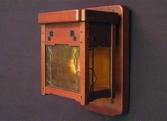 Greene and Greene style wall sconce, by Grainger Arts & Crafts Studio Craftsman Style Furniture, Mission Style Furniture, Craftsman Kitchen, Craftsman Houses, Leaded Glass, Stained Glass, Craftsman Lighting, Bungalow Interiors, Art And Craft Design