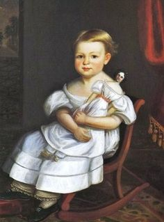 Joseph Whiting Stock - Portrait Of A Young Girl 1837 . with a doll Primitive Painting, Primitive Folk Art, Primitive Decor, Doll Painting, Painting Of Girl, Hans Baldung Grien, Old Portraits, Early American, American Girls