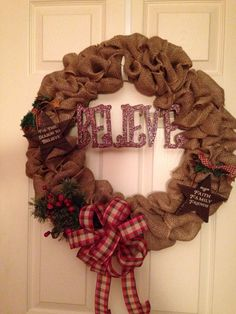 Primitive Burlap Christmas wreath I made!