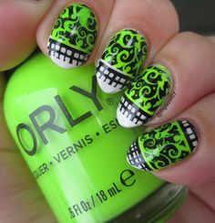 Reverse stamping using Sally Hansen 'Tag, Ur It!' 'Konad black stamping polish, Orly 'Thrill Seeker,' and Pueen Cosmetics PUEEN48.