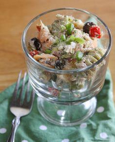 Parmesan Tuna and Veggie Pasta Salad with Greek Yogurt Dressing