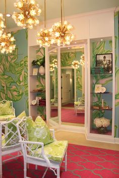 Dressing Room area at Lilly Pulitzer Waterside in Naples, FL [Family Room/Patio Color Inspiration? Welcome To My House, Shop Fittings, Interior Decorating, Interior Design, My New Room, Sweet Home, New Homes, Room Decor, Dressing Rooms