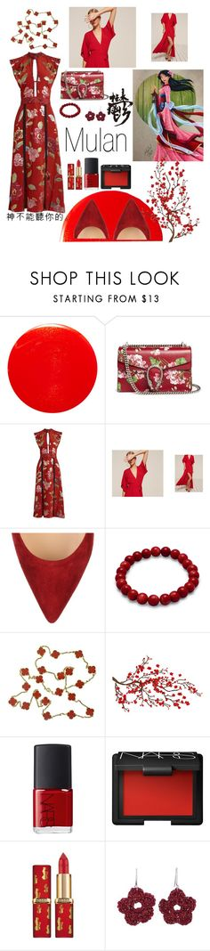 """""""Red Cherry Blossom, Mulan Inspired"""" by emc0814 ❤ liked on Polyvore featuring Yves Saint Laurent, Gucci, Burberry, Christian Louboutin, Van Cleef & Arpels, Brewster Home Fashions, NARS Cosmetics and NOVICA"""