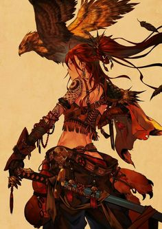 Fantasy art illustration, warrior girl and eagle book deadpool, swords, samurai Fantasy Character Design, Character Design Inspiration, Character Art, Character Ideas, Character Concept, Illustration Design Graphique, Illustration Art, Art Illustrations, Manga Art