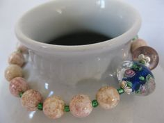Pink and blue glass bead bracelet by Trudysbeads on Etsy