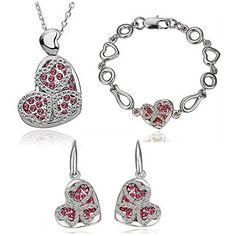 HSG herzfoermigen Kristall Schmucksets Halskette, Armband, Ohrringe - http://schmuckhaus.online/hsg/silber-rot-hsg-herzfoermigen-kristall-halskette