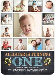 How much cake do you think he will eat at his first birthday? Invite your friends and family to your baby boy's first birthday with a cute photo collage card.