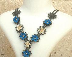 Turkish OYA Lace - Silk Necklace -Plumeria Blue  Crocheted Jewelry Wedding Bib Flowers Accessories Dresses Jewelry