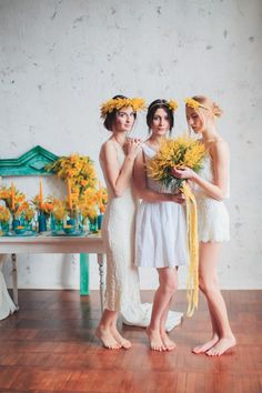 bachelorette party, young women in wreaths of Mimosa
