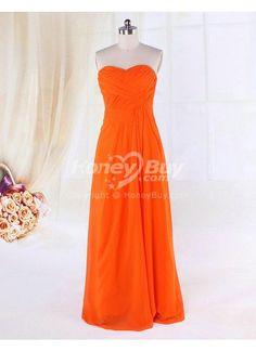 Strapless Sweetheart Floor Length Chiffon Orange Bridesmaid Dress