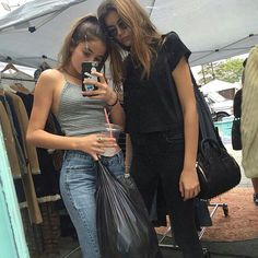 Kaia Gerber and her friend