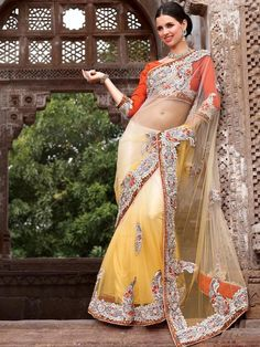 Welcome to the new era of Indian fashion wear. Get this yellow Nett satin saree with a gorgeous silver designer border and look your best. This saree will give you a singular and dissimilar look. (slight variation in color is possible)