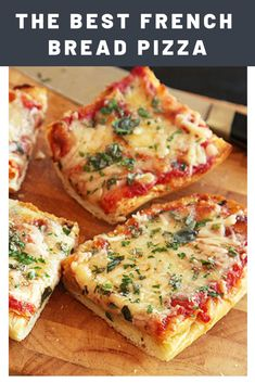 The Best French Bread Pizza Recipe | Classic French bread pizza upgraded with a heavy dose of garlicky butter, two cheeses, and fresh herbs.	  #footballrecipes #tailgating #footballparty #seriouseats #recipes