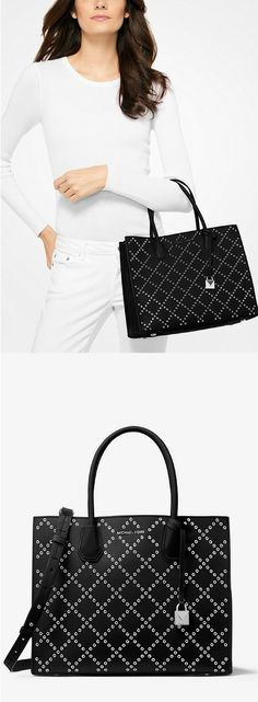 Michael Kors Mercer Grommeted Leather Tote. #handbag #michaelkors #purse #tote #women #ad #handbags #leather