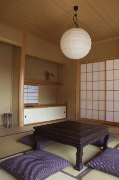 traditional Japanese house-I would love a table like this. Not only better for your posture but also for your chi to be closer to the earth while you eat.