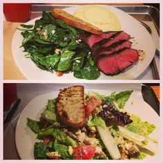 Steak hot plate and chipotle chicken salad (Tender Greens)