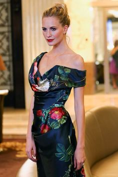 Poppy Delevigne wears Vivienne Westwood Midi Cocotte Dress in Rose Print at Vienna Fashion Night Out