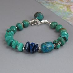 Turquoise Chrysocolla Lapis Gemstone Sterling Silver Bead Bracelet
