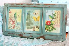 Oh how I love this.  Nature Graphics on vintage wood. The Garden Gallery