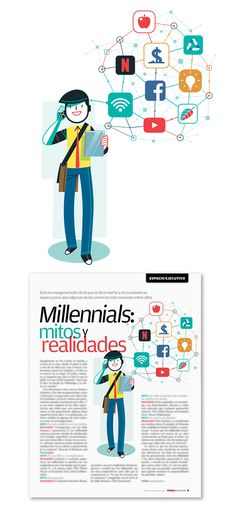 Spot Illustration: Millennials, Myths And Realities 'Femsa Informa', Business Magazine 62 Business Magazine, My Portfolio, Map, Cool Stuff, Movie Posters, Illustration, Space, Location Map, Film Poster
