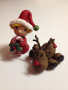 Elf and Reindeer Polymer Clay Figurine by Whimsybydesign1 on Etsy, $22.00
